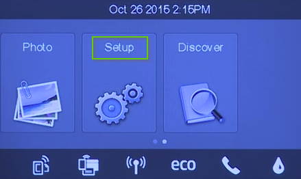 HP printer screen showing setup highlighted