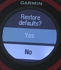 Garmin forerunner restore to defaults confirmation