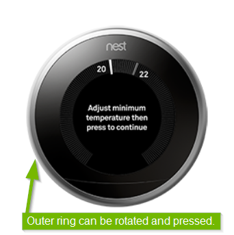 Thermostat with outer ring highlighted