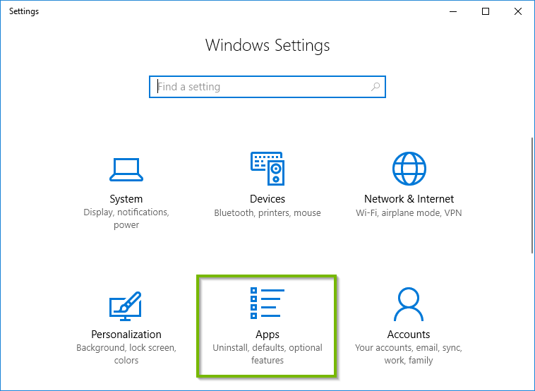 Windows Settings with Apps option selected. Screenshot.