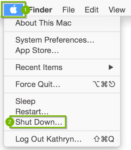 Apple menu icon highlighted with menu beneath highlighting the shut down option.