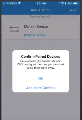 Smartthings app confirm paired devices popup
