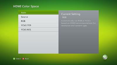 Xbox 360 hdmi color space menu