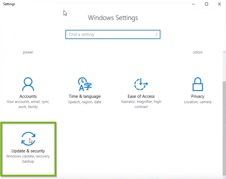 screenshot of windows settings with update and security highlighted