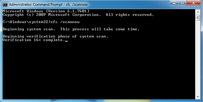 Command prompt window with System File Checker scan running