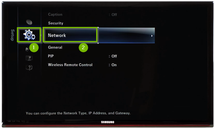 Setup menu with Network selected. Screenshot.