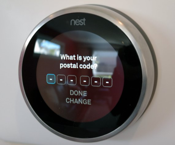 Nest thermostat asking for postal code