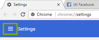 Chrome window with additional settings button highlighted