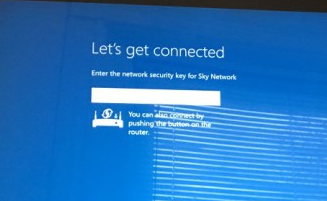 Surface pro let's get connected page showing the network name field