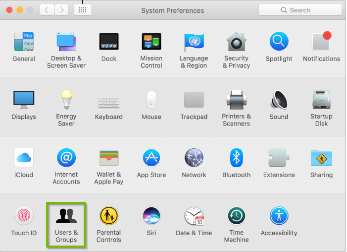 Screenshot of the System Preferences screen with Users & Groups selected.