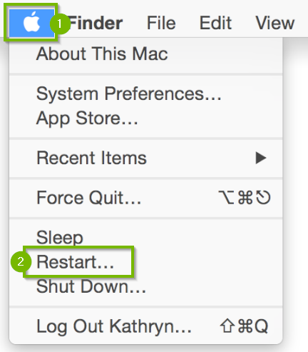 Apple icon in the upper-left corner displaying a menu beneath with the restart option highlighted.