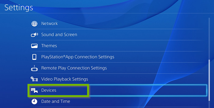 Settings menu with Devices selected. Screenshot.