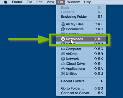 Finder window with Downloads highlighted.