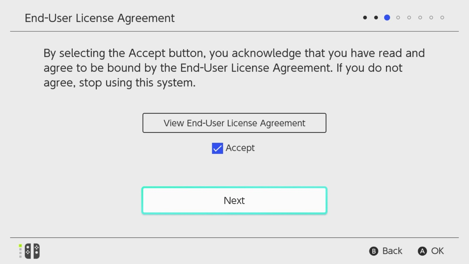 Nintendo switch setup screen with EULA.