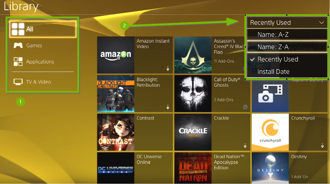 Game and app library with All and Recently Used highlighted