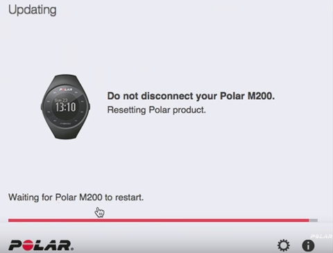 Polar Flow program on computer updating the polar m200