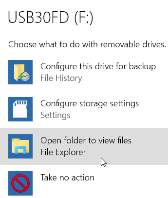 Windows 10 removable drive popup