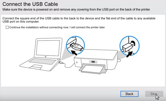 HP printer software explaining to connect the USB cable