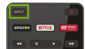 Vizio remote showing the input button