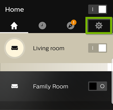 Philips Hue app with Gear icon selected in the upper right.