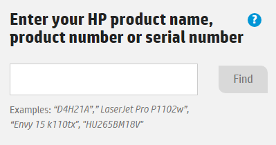 HP product name search field