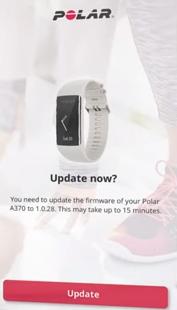 The polar flow app update message