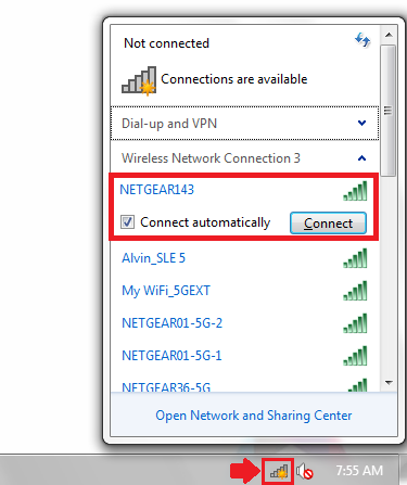 The windows network popup showing the network selected