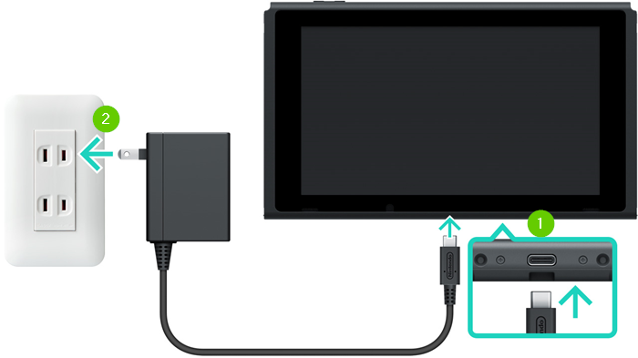 A nintendo switch showing the ac adapter being plugged into the bottom of the switch