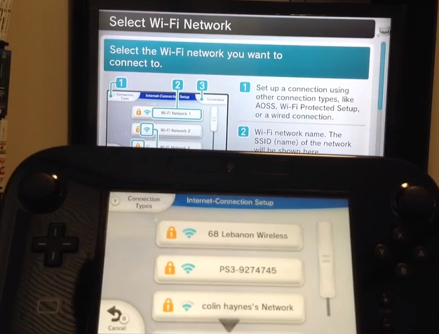 Wii u internet connection stage showing network names