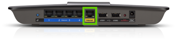 The back of a router with the ethernet port highlighted