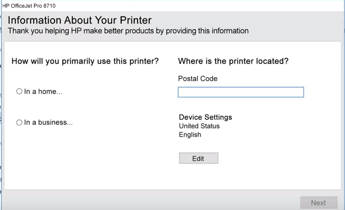 HP printer software asking for printer use and zip code