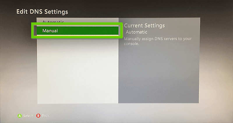 Xbox 360 edit dns settings with manual selected