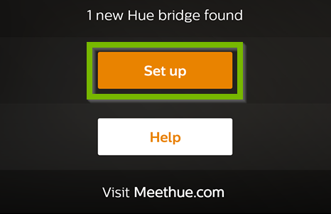 Philips Hue app with Set up button selected.