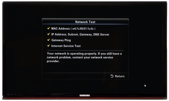 Network test results. Screenshot.