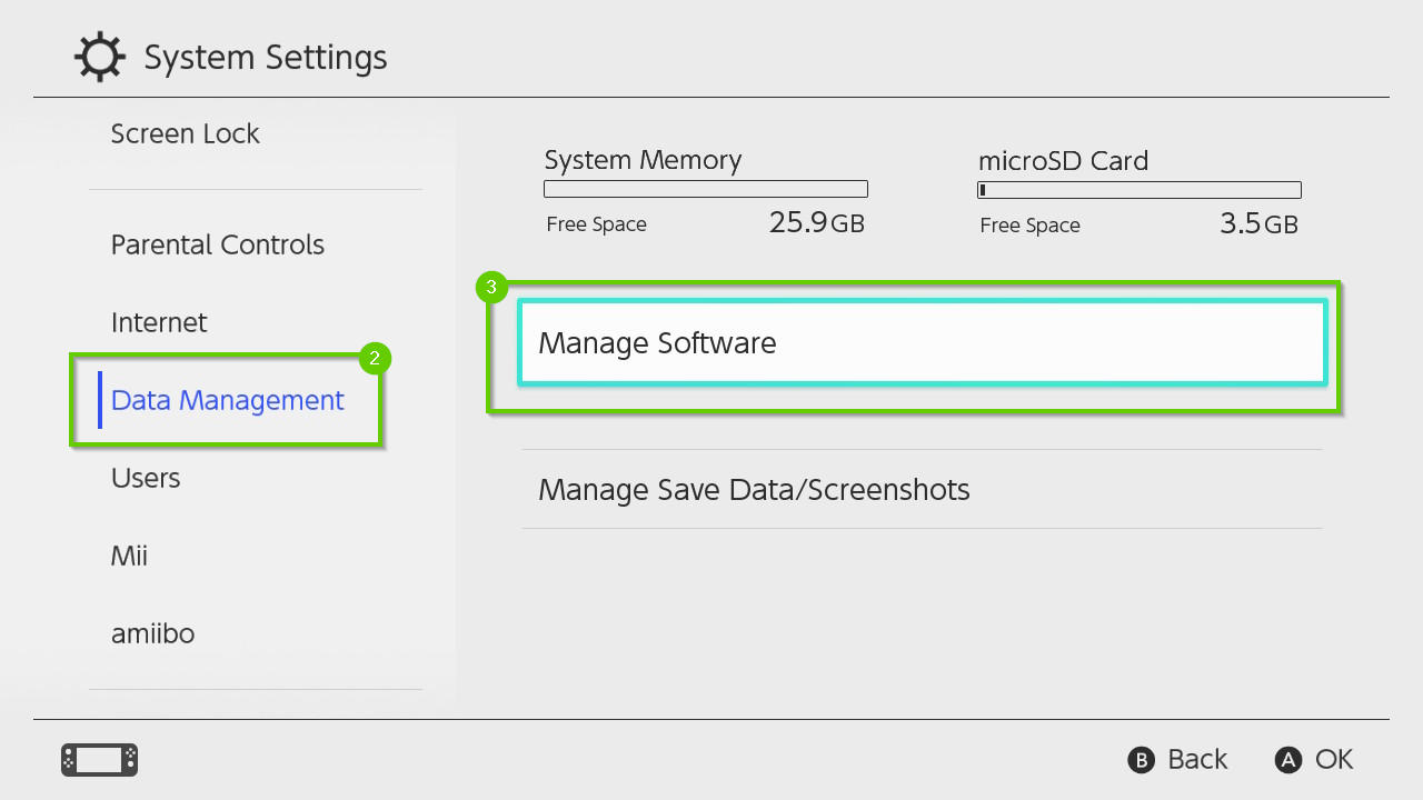 Nintendo Switch system settings menu highlighting the data management and manage software options.