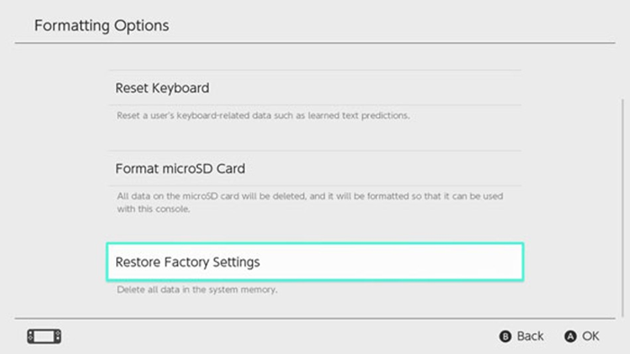 Nintendo switch formatting options with restore factory settings selected