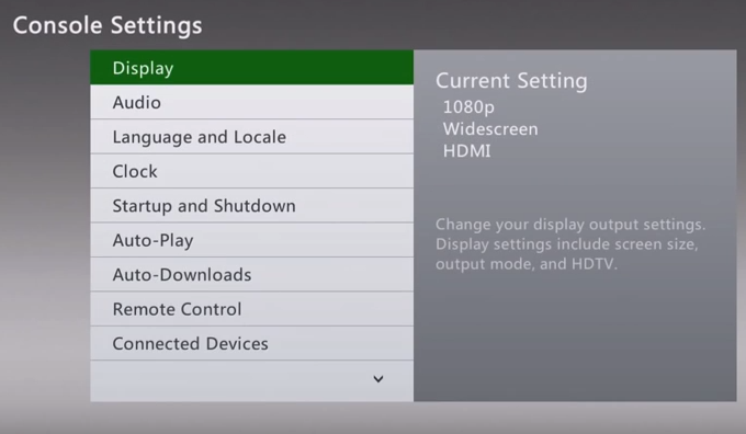 Xbox 360 console settings menu with display selected