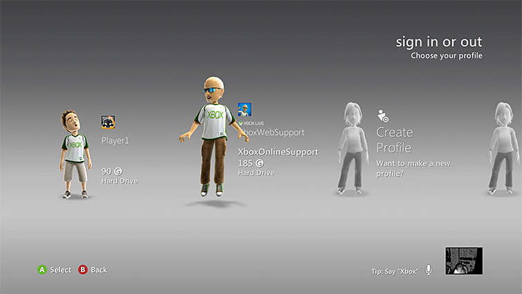 Xbox 360 profile selected