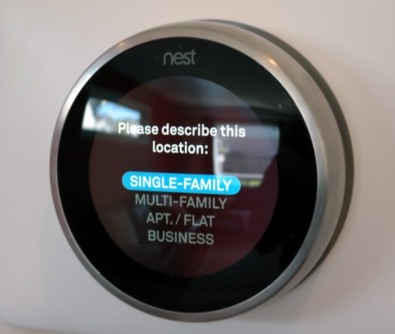 Nest thermostat asking for type of location