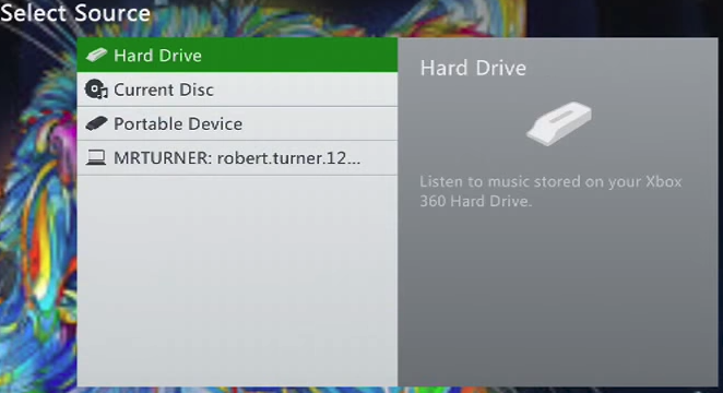 Xbox 360 select music source with harddrive selected