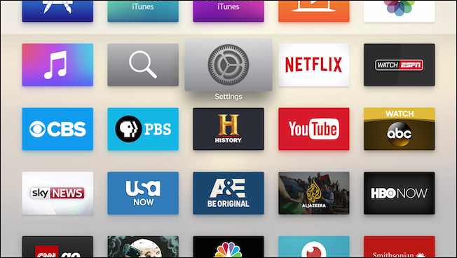 Apple tv home page with settings selected