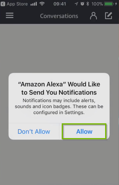 Amazon Alexa would like to send you notifications prompt, with Allow selected. Screenshot.