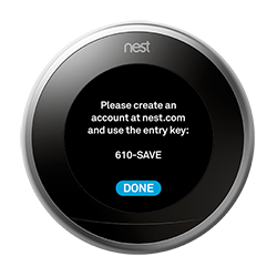 Nest thermostat with entry key