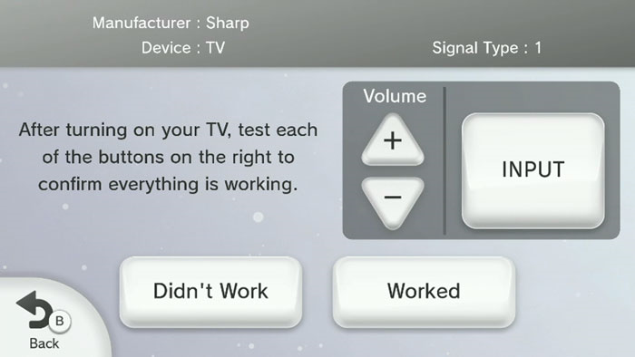 Wii u tv remote test settings