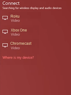 Windows 10 project menu displaying available wireless display options.
