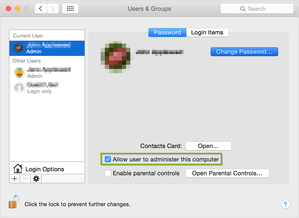 Screenshot of the Users & Groups window with the Allow user to administer this computer selected with a checkmark.