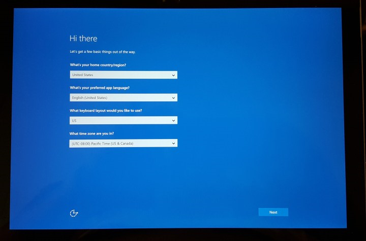 Surface pro initial start up screen