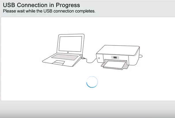HP printer software showing connecting