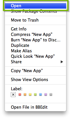 screenshot of Finder menu for an app with open highlighted