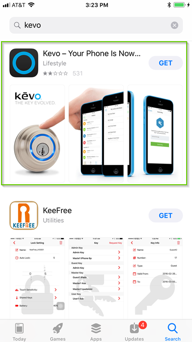 iOS search results for kevo app